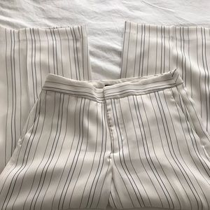 Cream and Navy Stripe Wide Leg Crop Pants